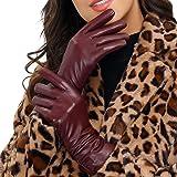 Acdyion - Guanti invernali da donna in vera pelle per touchscreen, caldi ed eleganti, fodera in cashmere