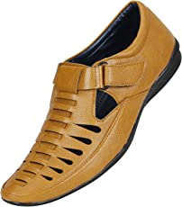Emosis Men's Stylish Tan Brown Black Colour Outdoor Formal Casual Ethnic Loafer Slip-On Sandal Shoe