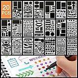 Pochoir Peinture Kits,20pcs Reutilisable Plastique Pochoirs Bullet Journal Contenir Lettre Alphabet Nombre Formes IcôNes,Post