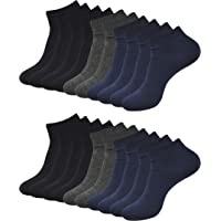 Balenzia Men's Plain Ankle Socks- Black, Navy,D.grey (Combo Pack of 10)