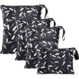 WD&CD Wet Bag, 4 PCS Cloth Nappy Wet Bags Waterproof Reusable Wet Dry Bag for Baby Diaper Travel Beach Pool Daycare Gym…