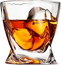 Prime Premium Lead-free Whisky Crystal Glass Twist Design Whiskey Glass, 300 ml (Clear) - Set of 6