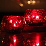 Brahmz Candle Holder Crackle Tealight Votive for Home Decor Gift Glass Candle Votive (Red - Pack of 2)