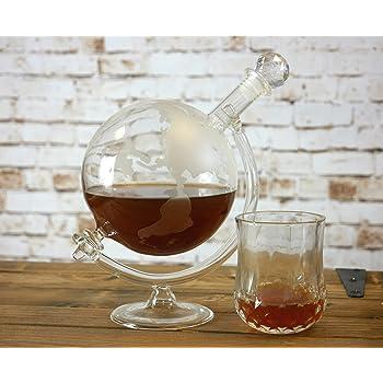 WunderschöNen Whisky-karaffe 750 Ml Und 2 Gläser Schnaps Wein Glas-behälter Flasche Globus Neu Spirituosen