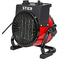STIER Basic Keramik-Heizlüfter 2,0 kW, Elektroheizung 2000W, Baustellen-Heizstrahler für Innen- und Außeneinsatz…