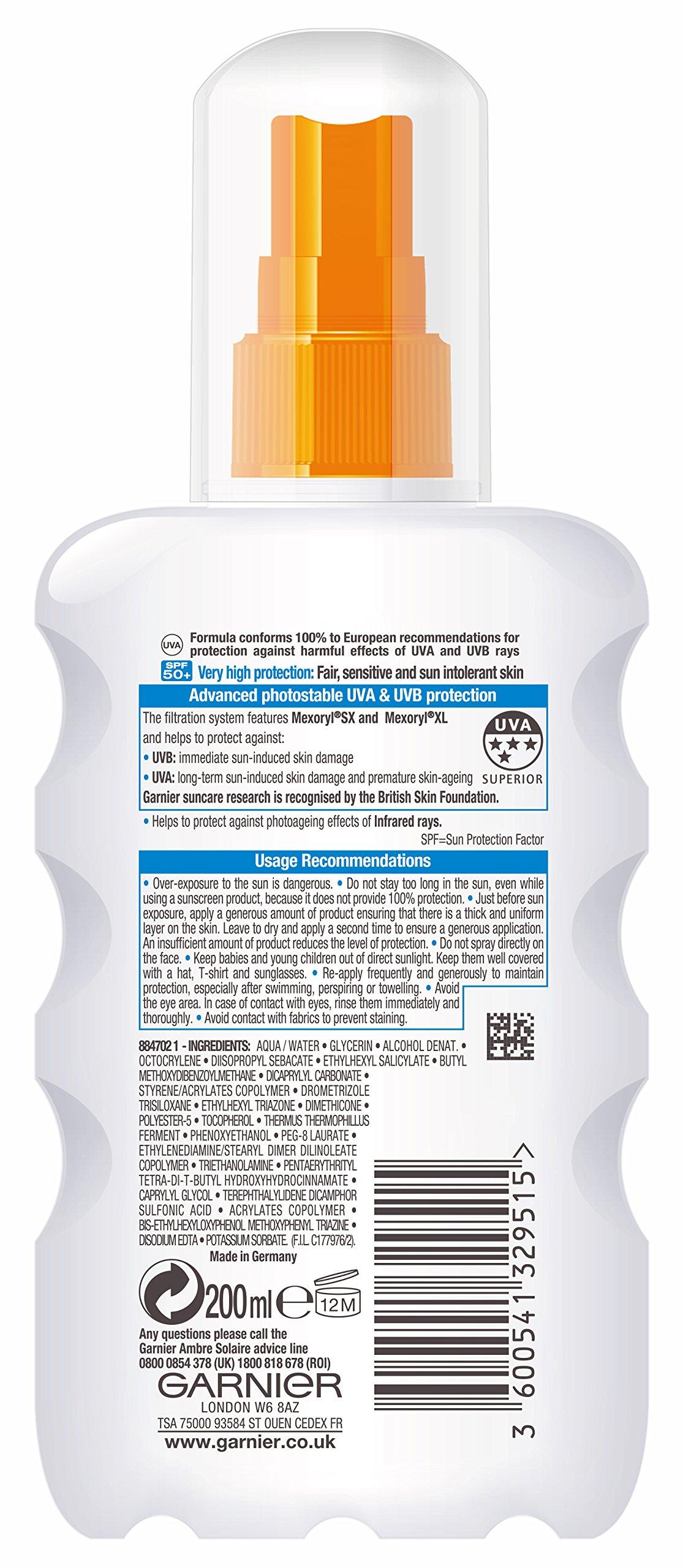 Garnier ambre solaire, factor de protección solar 50 – protección solar – plus sensible spray 200