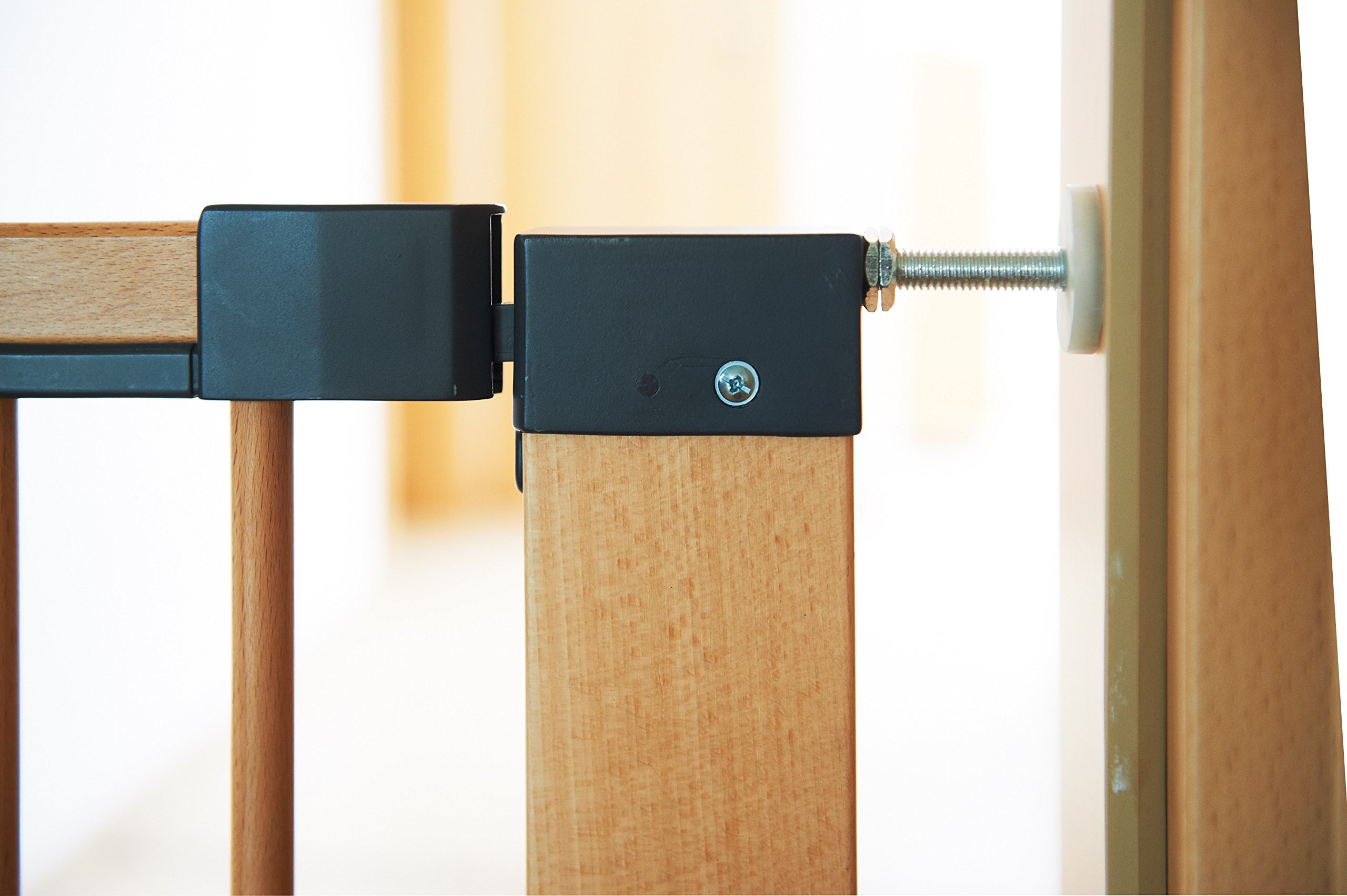 Geuther Door Safety Gate Easy Lock (Wood, Range of Adjustment 75.5 - 83.5cm)  Solid Beech Wood Door gate utilising easylock design No Drilling required Dual lock feature - impossible for toddlers to open yet simple for adults. 3