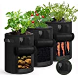 shengda wei 3-pack potatisodlingspåsar, 7 gallon icke-vävt tyg växtodlingspåsar med handtag, stora grönsaksplanterare krukor