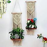 Homesake Macrame Wall Hanging Large Art - Macramé Wooden Shelf Woven   Bohemian Home Décor Rack for Planter, Handmade Modern