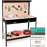 TecTake Établi d'atelier | en bois et acier | avec panneau à outils et tiroir de rangement - diverses tailles au choix (120x60x156cm | No. 400855)
