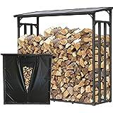 QUICK STAR Étagère en métal pour Bois de cheminée Anthracite XXL 185 x 70 x 185 cm Distance Entre Les Bois 2,3 m³ avec protec