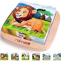 Rolimate Puzzle en Bois Cube Bloc de Construction Girafe Tigre Lion Rhinocéros Zèbre Éléphant Jouet Éducatif Cadeau d…