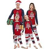 Irevial Pijamas de Navidad Familia Conjunto, Manga Larga Camiseta con Estampado de Feliz Navidad y pantalón Largo con cordón