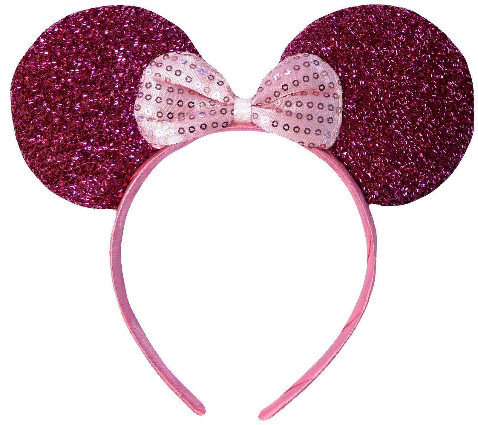 Hot Pink Sparkly Minnie Mouse Ears Fancy Dress Headband by DangerousFX