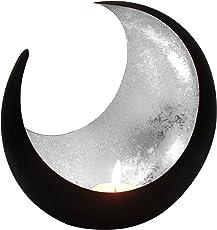 MAADES Windlicht Laterne Orientalisch Moon Groß 20cm | Orientalische Vintage Teelichthalter Schwarz von Außen und Silber Oder Goldfarben Innen | Marokkanische Windlichter aus Metall als Dekoration