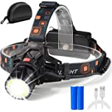 Led-hoofdlamp, USB-oplaadbaar, extreem helder, waterdicht, zoombaar, 18650 hoofdlamp, hoofdlamp voor wandelen, vissen, kamper