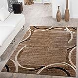 T&T Design Alfombra De Salón Económica con Ribete Motivo Semicírculos Jaspeada Marrón Beige, Größe:120x170 cm