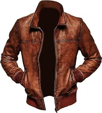 Mens Biker Vintage Distressed Brown Bomber Winter Leather Jacket
