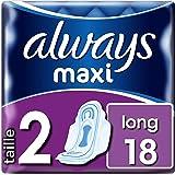 Always Maxi Long Hygiénique, Taille 2, Maxi, Long, 18 Pochettes Individuelles, Sans Ailettes, Anti-Odeur Protection Contre Le