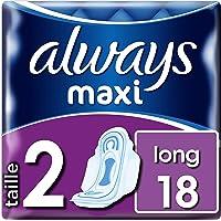 Always Maxi Long T2 Serviettes avec Ailettes 18 Pochettes Individuelles