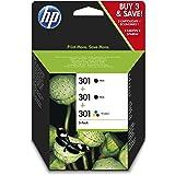 HP 301 E5Y87EE, Pack de 3, Cartuchos de Tinta Originales, 2 Negro + 1 Tricolor, Compatible con impresoras de inyección de tin