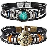 YADOCA 12 Costellazioni Bracciali Zodiaco Retro Vintage Braccialetto per Uomo Donna Bracciali Pelle Jewelry