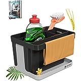 Luamex® Organisateur d'évier en paille de blé – Égouttoir – Porte-éponge – Outil de rangement – Porte-ustensiles de cuisine –