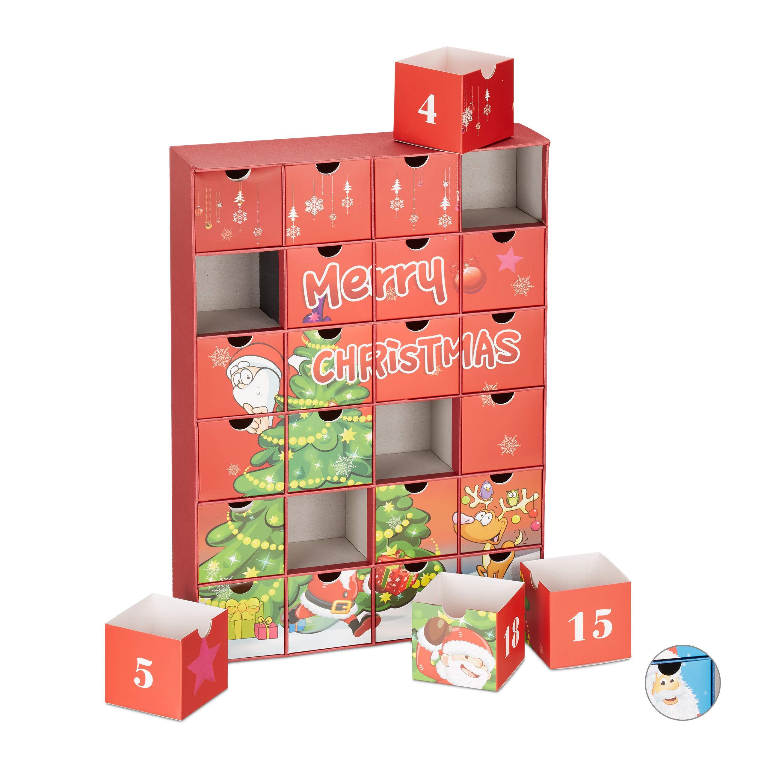 Calendario Avvento Adulti.Relaxdays Calendario Dell Avvento Da Riempire 24 Scatolette Riutilizzabili Per Adulti E Bambini Differenti Colori Giochi Legno