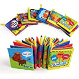 BelleStyle Libro Stoffa, Set Neonato, Quiet Book, Libro Tattile per Bambini, Gioco Libro Non Tossico Stoffa Morbida di Giocat