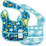 Bumkins Starter Bib, Baby Bib Infant, Waterproof, Washable, Stain and Odor Resistant, 3-9 Months, 2-Pack – Sea Friends & Whal