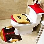 Hillento Christmas Decoration Santa Toilet Seat Cover & Rug & Tissue Box Cover Bathroom Set Gift Elk SD-MTD-04