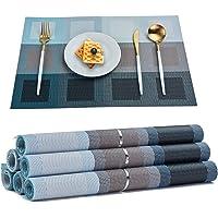 RICHTOP Sets de Table Lot de 6 en Vinyle Tissé avec Isolation Thermique Tapis de Table lavables et Anti-Taches…