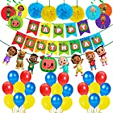 Party Propz Cocomelon Theme Birthday Party Decorations Combo 39Pcs Items Banner, Balloons, Swirls, Pom Pom for Kids Birthday