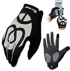 Fahrradhandschuhe für Damen Herren Frauen Manner, West Biking Winddicht Silikon Touchscreen Vollfinger Warme Winter Handschuh für Smartphone Mountainbike Rennrad Reiten