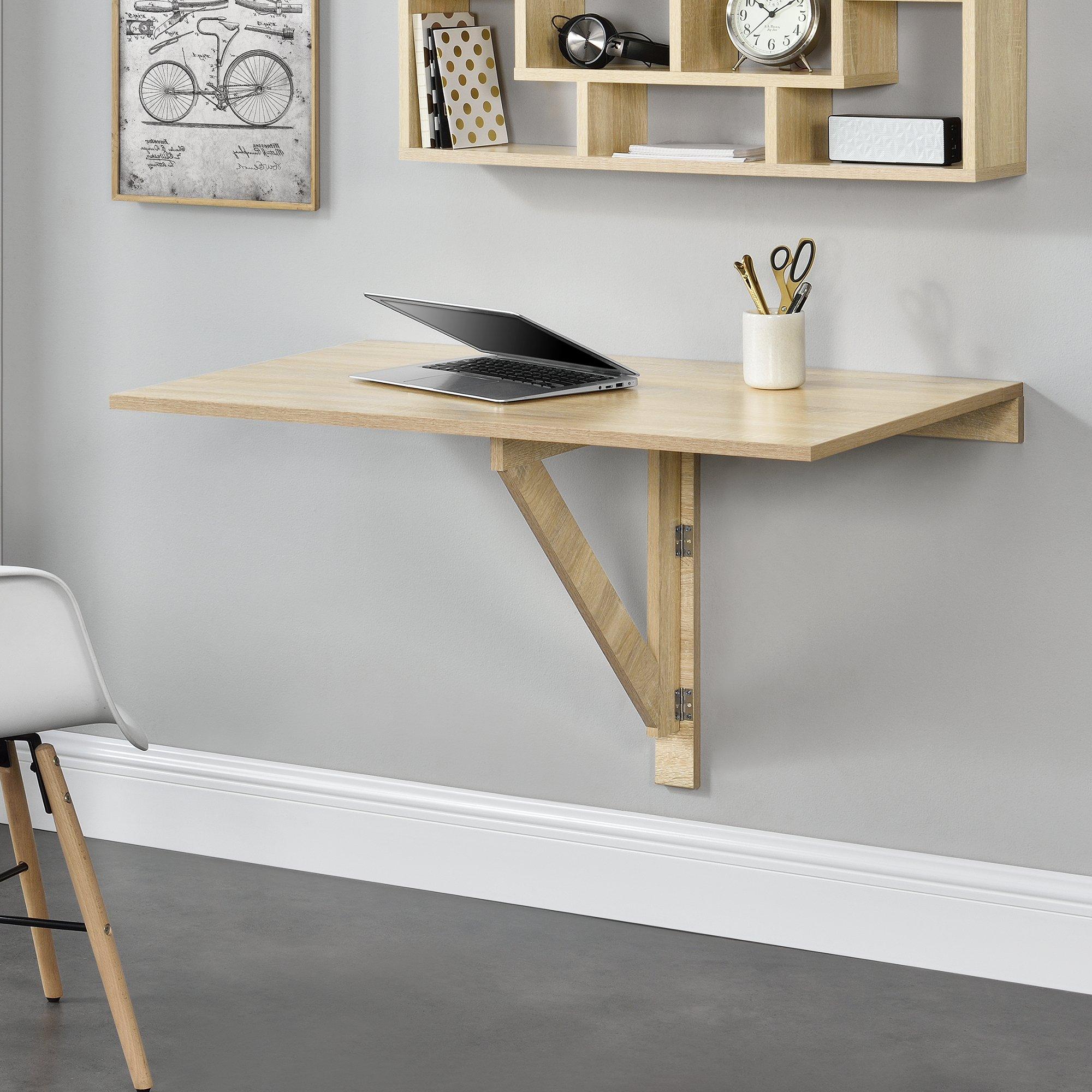 Tavolo A Muro Pieghevole.En Casa Tavolino Da Muro Pieghevole Scrivania Tavolo Da Pranzo 100 X 60 X 58 Cm Effetto Faggio