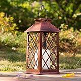 Solar Lantern Candle Solarlaterne für außen,TAKEMEURO Jahrgang Solarlampe mit Kerzen für Außen Gartendeko Solar Gartenlaterne