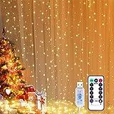 Rideau Lumineux, Yizhet 3 x 3m LED Guirlande Lumineuse Rideau 300LEDs, 8 Modes d'Eclairage, Télécommande Minuterie, Decoratio