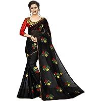 PERFECTBLUE Women's Cotton Silk Embroidery Work Saree with Unstitched Blouse Piece (Cottonwork)