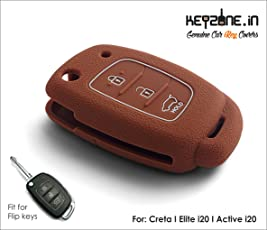 KEYZONE Silicone Key Cover for Elite I20/I20-Active/Creta Flip-Key Remote (Brown)