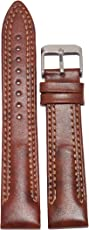Kolet 22mm Leather Half Padded Double Stitched Watch Strap (Tan)