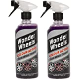 Wonder Wheels Set of 2 Colour Active Super Wheel Cleaner 600ml - With Changing Technology Alloy Iron Remover Car Acid…