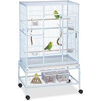 Relaxdays Volière Oiseaux, Cage AV. roulettes, perruches, canaris, calopsittes, Accessoires,137 x 83 x 54 cm, Bleu Clair