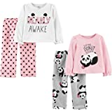 Simple Joys by Carter's Conjunto de Pijama Superior de poliéster y Parte Inferior de Forro Polar Niñas, Pack de 4
