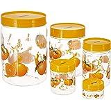 Amazon Brand - Solimo Plastic Printed Container Set (15-Pieces, Orange) (3-Pcs 2.2 Litres, 3-Pcs 1.2 Litres, 3-Pcs 450ml, 3-P