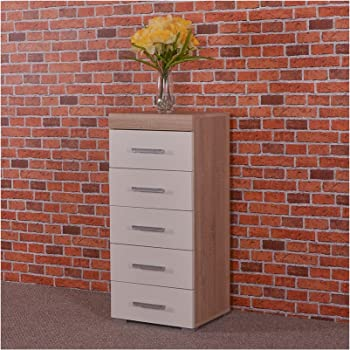 DRP Trading White U0026 Sonoma Oak Tall Boy Chest Of 5 Drawers Bedroom Furniture    Narrow