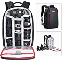 LUCKYJIE Camera Backpack Waterproof Camera Bag with Tripod Strap and Rain Cover Large Capacity Rucksack for Digital SLR Camera Camera Tripod Laptops Lens and Accessories