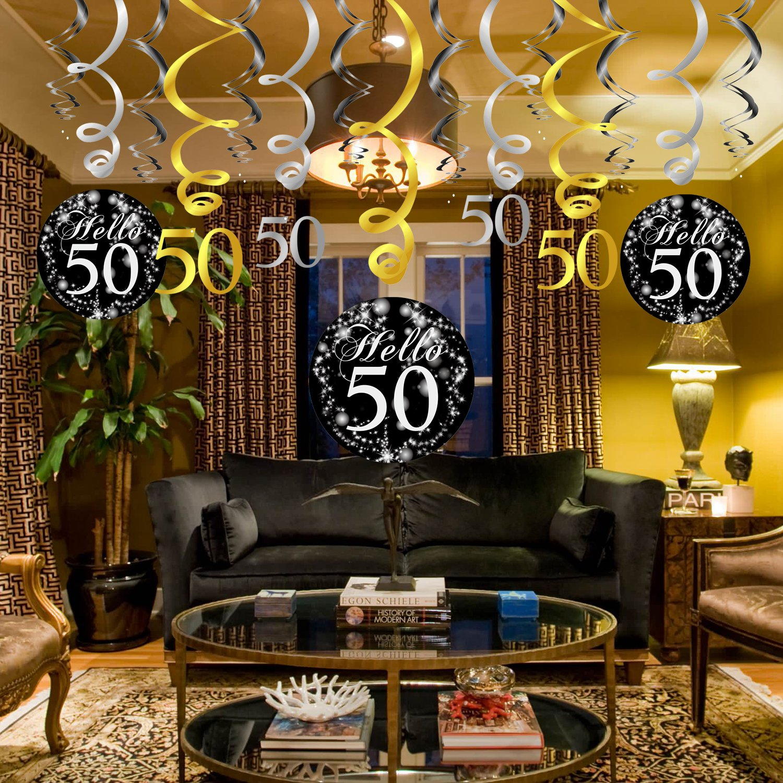 50 Anni Compleanno Decorazione Konsait Nero Appeso Soffitto