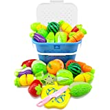 Kingwell Realistic Sliceable Cutting Fruits and Vegetables Play Educational Toys Set with Basket for Kids
