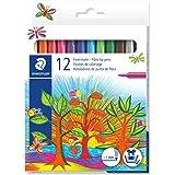 Noris Club Fibre Tip Fine Nib Pen - Pack of 12, Assorted Colors