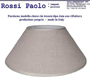 Paralume coprilampada classico per lampada in tessuto tipo Juta con rifinitura produzione propria made in Italy (Cinese, cm 25)